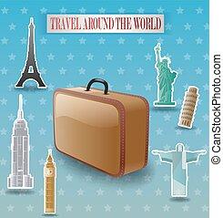 Vintage travel luggage poster