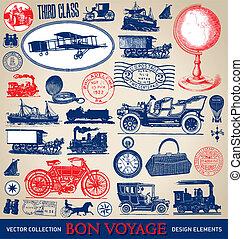 Vintage travel set (vector) - Set of various antique travel...