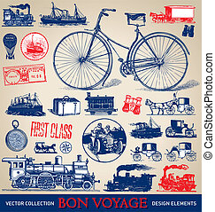 Vintage travel set (vector)
