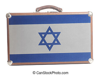 Vintage travel suitcase with Flag of Israel
