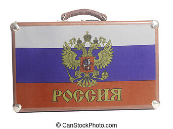 Vintage travel suitcase with Flag of the Russian Federation