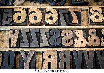 Vintage Tray of Wooden Letterpress Type
