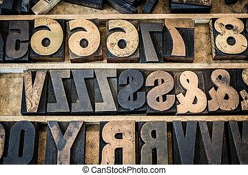Vintage Tray of Wooden Letterpress Type