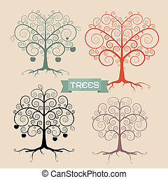 Vintage Trees Set Vector Illustration