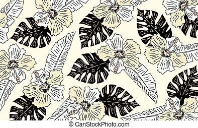 vintage tropical flowers with leaves pattern. hand draw tropical flower, blossom cluster seamless pattern background