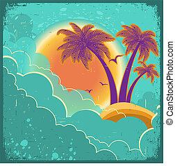 Vintage tropical island background with sun and dark clouds on old paper poster for text