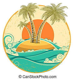 VIntage tropical island. Vector symbol seascape with sun on old paper texture