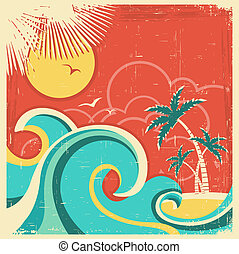 Vintage tropical poster with island and palms. Vector sea background on old paper texture
