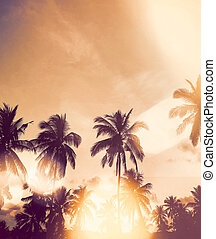 Vintage tropical sunset with silhouette palm trees.