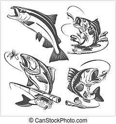 Vintage trout fishing emblems and design elements