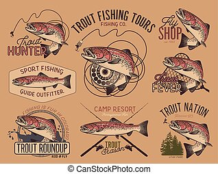 Vintage trout fishing emblems - Set of vector fishing emblem...