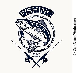 Vintage trout fishing emblems, labels and design elements....