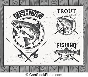 Vintage trout fishing emblems, labels and design elements....