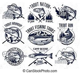 Vintage trout fishing emblems - Set of vector fishing emblem...