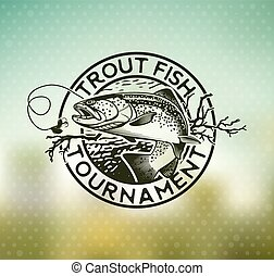 Vintage trout fishing emblems
