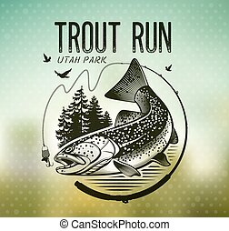 Vintage trout fishing emblems - Trout Fishing emblem on blur...