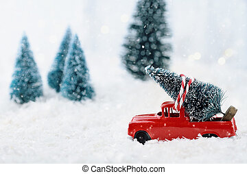 Vintage Truck and Christmas Tree - 1950's antique vintage...