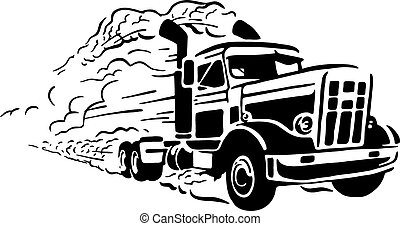 Isolated vector illustration of truck on white background.