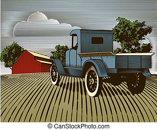 Vintage Truck Scene Color - Woodcut style illustration of an...