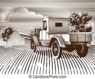 Woodcut style illustration of an old truck with a farm background.