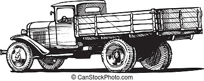 vintage truck - Vector monochrome retro lorry isolated on ...