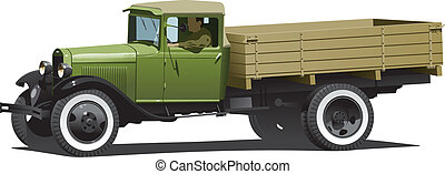 vintage truck - Vector retro lorry isolated. (Simple ...
