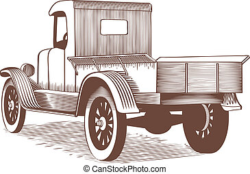 Vintage Truck - Woodcut style illustration of an old farm...