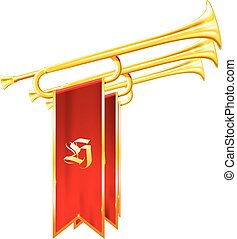 Vintage trumpets or bugles with flags - fanfare of triumph, ...