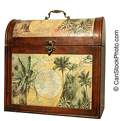 Isolated antique vintage trunk