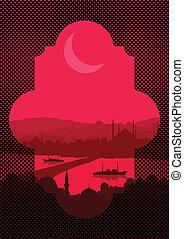 Vintage turkish city Istanbul landscape
