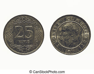 Vintage Turkish coin isolated