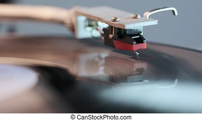 vintage turntable operation - front view footage on playing...