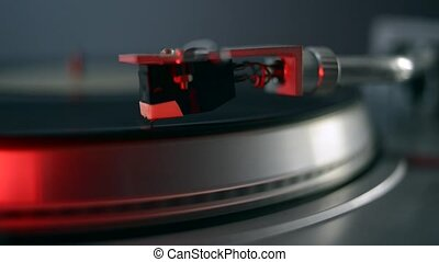 vintage turntable playing - vintage vinyl turntable playing...
