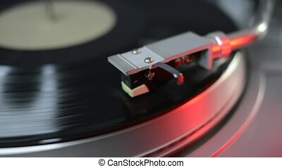 vintage turntable record - vintage turntable playing vinyl...