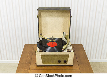 Vintage Turntable with Red Record Album - Vintage turntable...