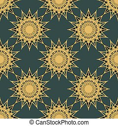 vintage turquoise and gold seamless pattern with pink...