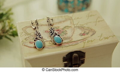 Vintage Turquoise Earrings - Vintage turquoise earrings on a...