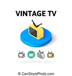 Vintage TV icon in different style