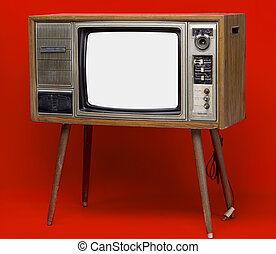 Vintage TV : old retro TV set isolated on red background.