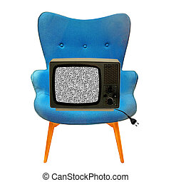 vintage tv on a blue chair