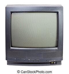 Vintage TV set - Vintage black Television set isolated on ...