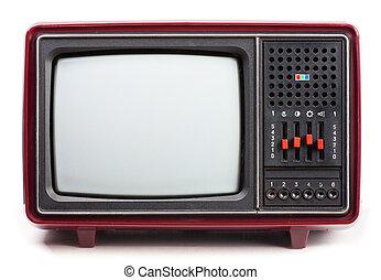Vintage TV set - Vintage red Television set on white ...