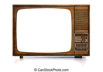 Vintage TV - Front view of vintage TV with...