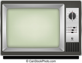 vintage tv - vector photo realistic vintage tv on white...
