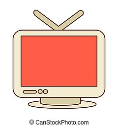 Vintage tv with antenna, vector illustration graphic.