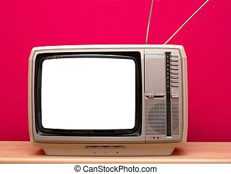 Vintage TV with blank white screen