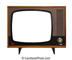 Vintage TV with isolated screen