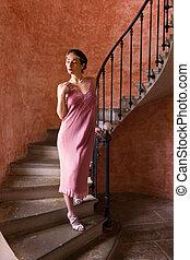 Vintage twenties woman on stairs