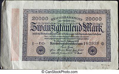 Vintage twentythousand german marks banknote