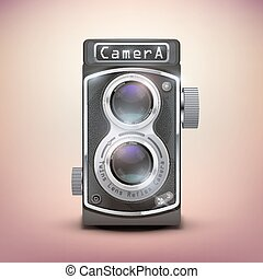 Vintage twin lens reflex camera. Front view. Realistic retro...